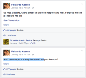 Baptist Pastor Insults Pope Francis on his FB Timeline