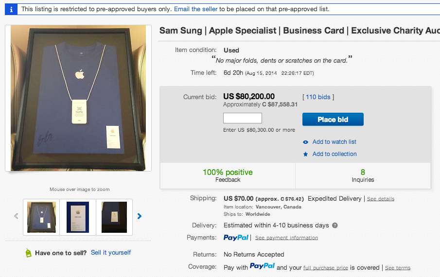Sam Sung Auctions Apple Business Card for Charity | Bohol News Daily