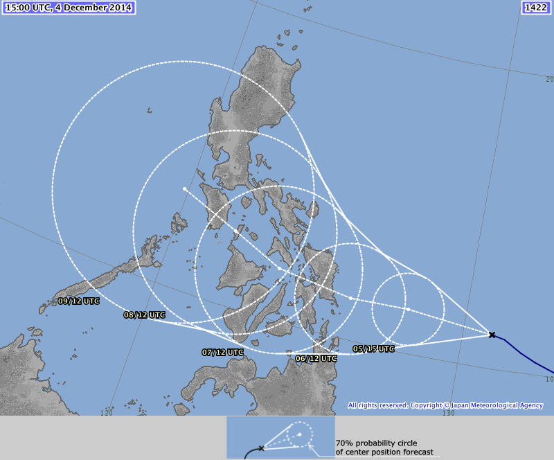 The JMA forecast path now shows a significant change northwards.