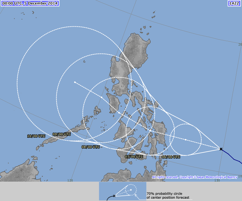 JMA forecast seems to be in agreement with PAGASA forecast.