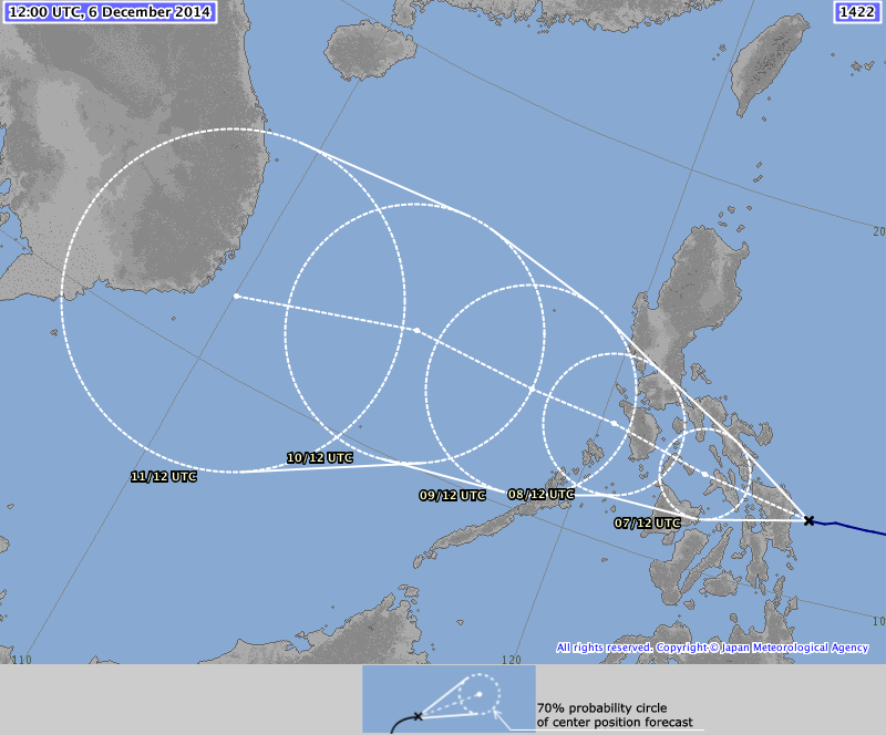 JMA forecast path still shows a westerly movement just avoiding Manila.  The capital isl still expected to get heavy rainfall though.