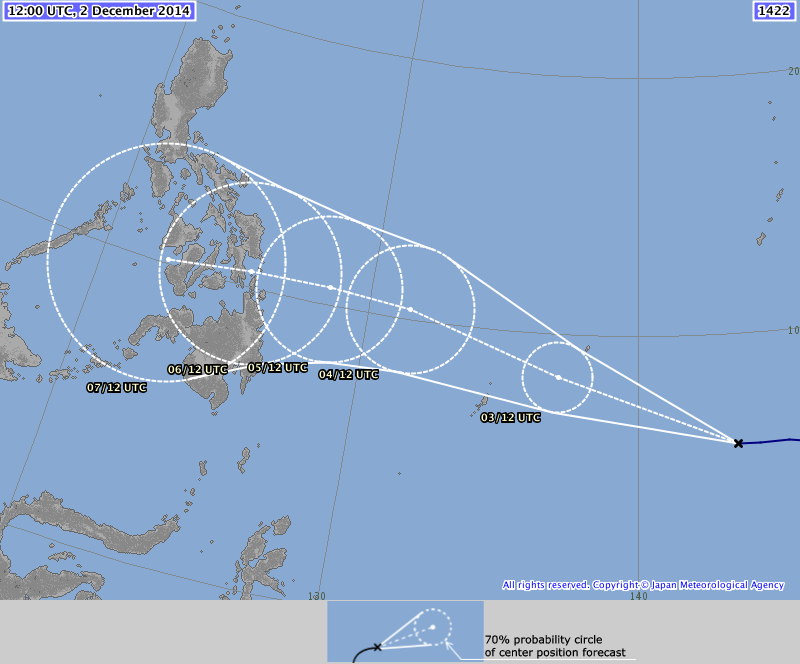 "December 2, 2014, 21:00HRS update of the forecast path of ""Ruby""."