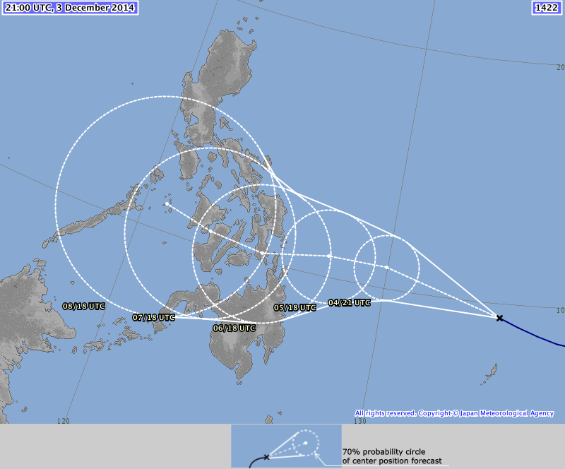 The Japan Meteorological Agency forecast shows the storm making landfall in Leyte and moving west towards Palawan.