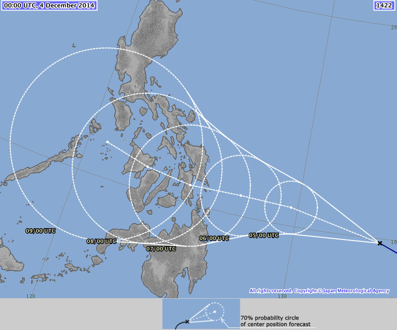 JMA forecast path for the next five days shows that typhoon Ruby will have a more northwards path and Bohol may not get directly hit.  The slow movement of the typhoon could bring heavy rains and may cause flooding.