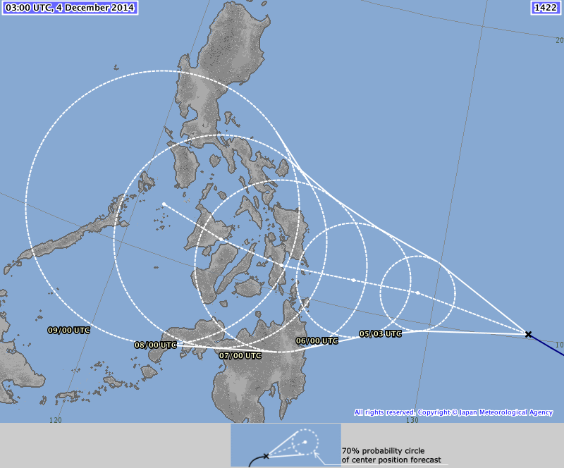 JMA forecast path of Ruby still is showing that it will make landfall in Leyte.