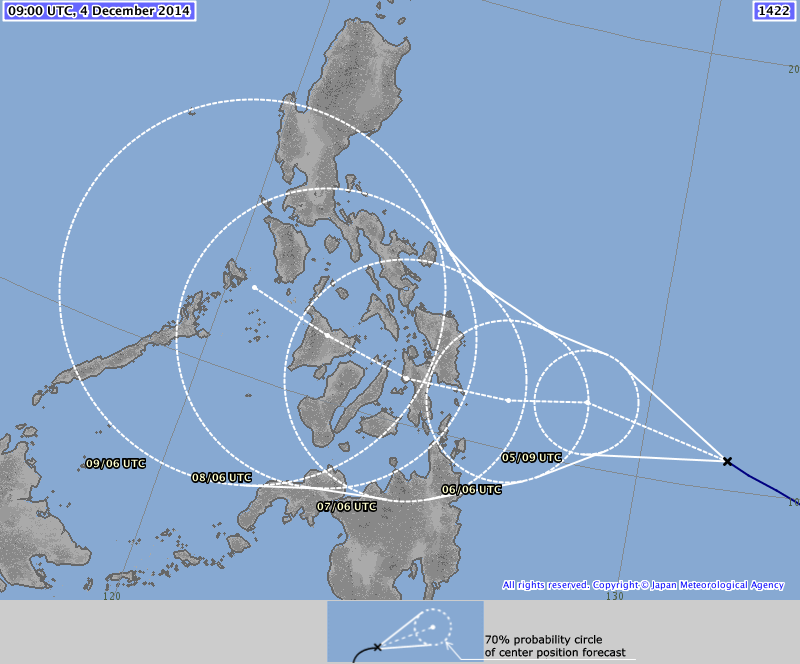 JMA foreast still shows the storm traversing the Visayas and making landfall in Leyte.