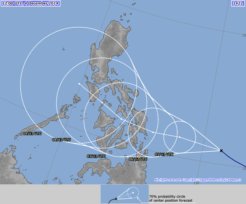 JMA forecast now shows landfall happening in Samar.