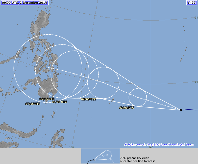 Forecast path of Typhoon Ruby from the Japan Meteorological Agency shows that it may possibly hit the Visayas region and could impact Leyte, Bohol and Cebu.