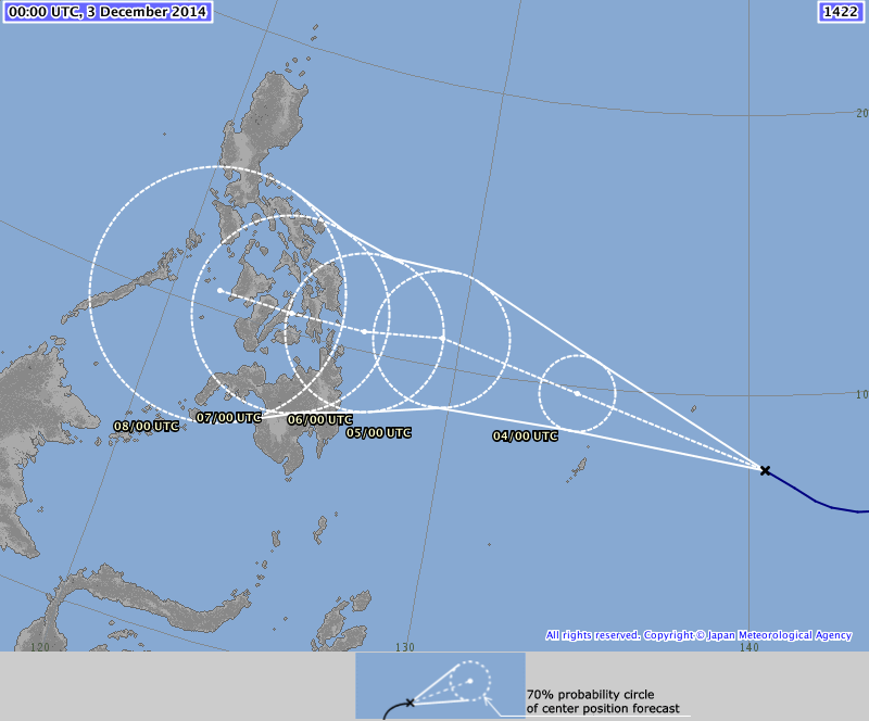 Forecast path of Typhoon Ruby published by the Japan Meteorological Agency at 09:00HRS PHT.