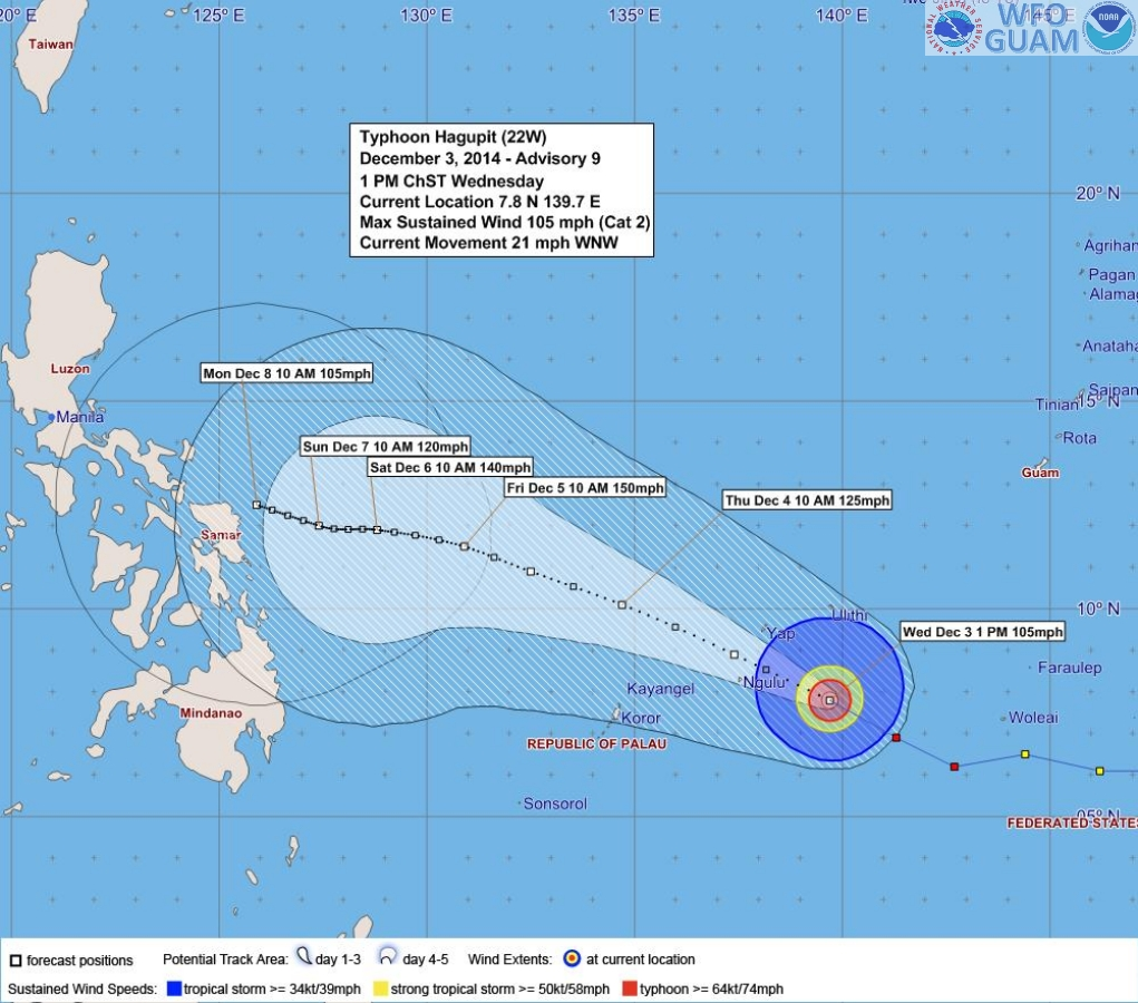 Another forecast analysis of typhoon Ruby from the Guam Weather Forecast Office shows a more northward path but Ruby may still hit the eastern part of the country.