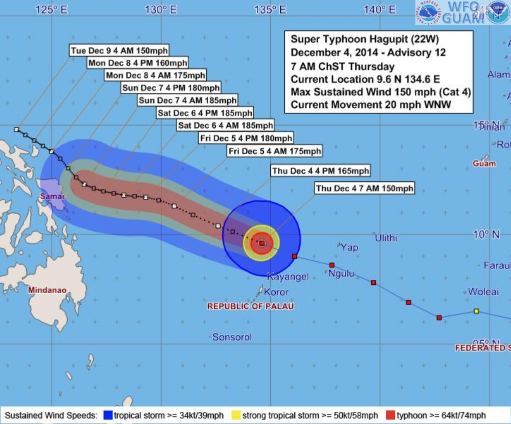 Track from the Guam Weather Forecast Office shows the storm could curve northwards in the next few days.  This graphic shows the possible areas of strong winds.