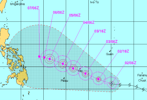 Forecast path of tropical storm 'Hagupit' based on the data from the US Joint Typhoon Warning Center.